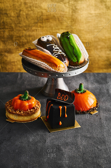Close up of Halloween themed pastries