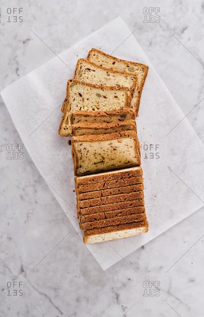 Sliced fresh baked loaf of bread