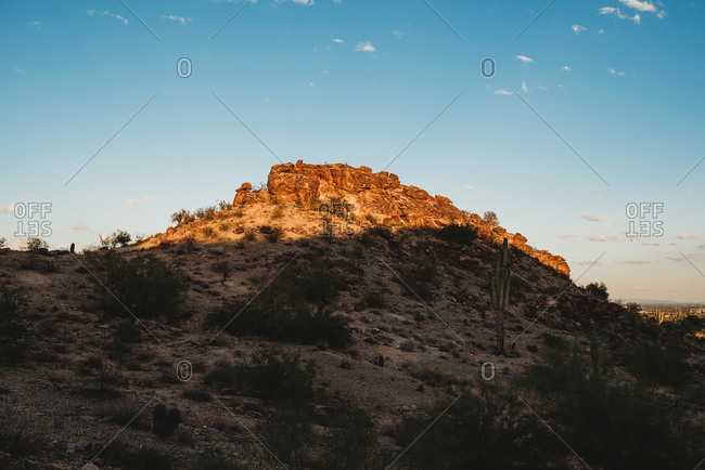 Hill at sunset in the desert