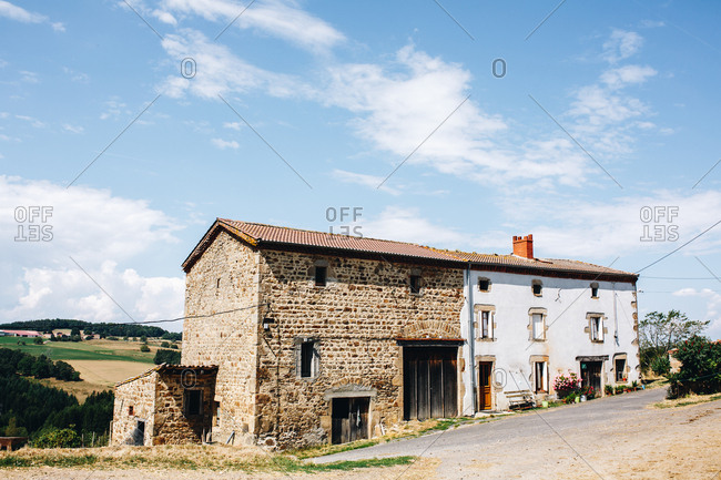 Farmhouses in a village in the countryside of France