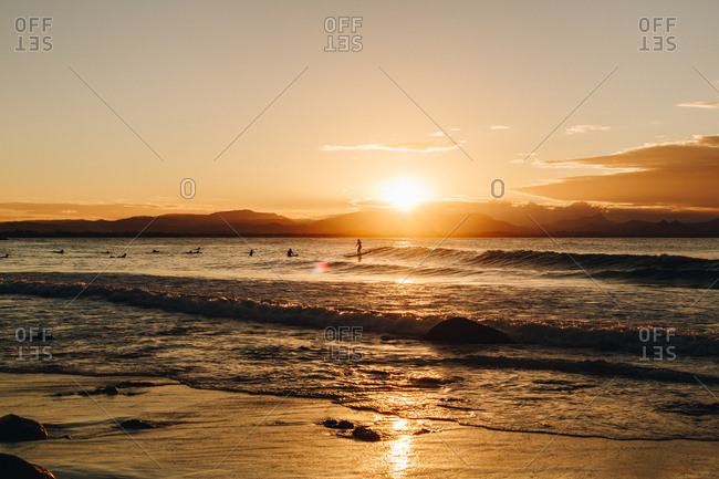 Surfers in the ocean at sunset in Byron Bay