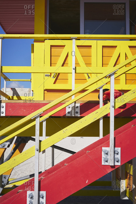 A close up of the side of a lifeguard hut step access, showing details of the architecture
