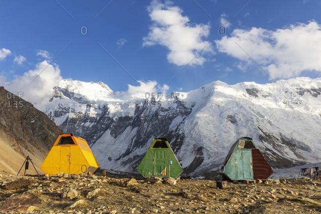 Moskvina base camp, Tajik National Park (Mountains of the Pamirs), UNESCO World Heritage Site, Tajikistan, Central Asia, Asia