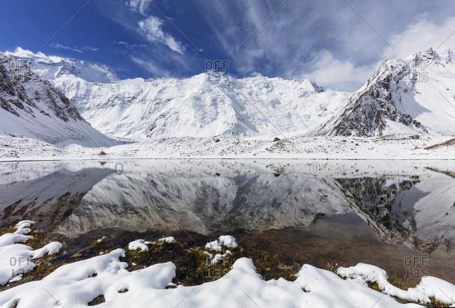 Communism Peak (Ismoil Somoni Peak), 7495m, Moskvina, Tajik National Park (Mountains of the Pamirs), UNESCO World Heritage Site, Tajikistan, Central Asia, Asia