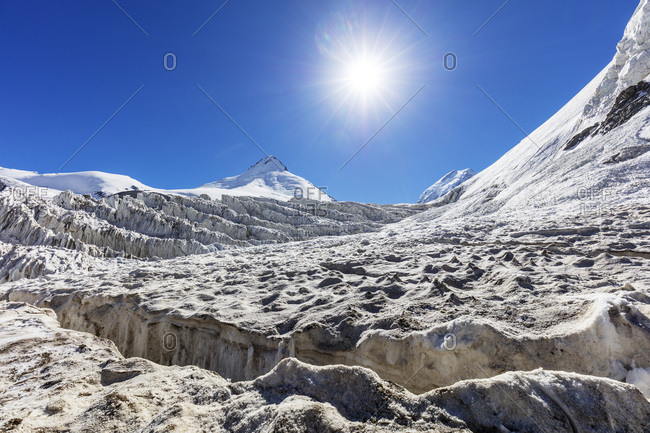 Moskvina Glacier near Communism Peak, Tajik National Park (Mountains of the Pamirs), UNESCO World Heritage Site, Tajikistan, Central Asia, Asia