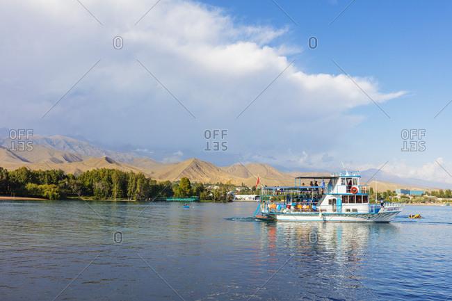 August 23, 2018: Cholpon Ata Beach, Lake Issyk Kol, Kyrgyzstan, Central Asia, Asia
