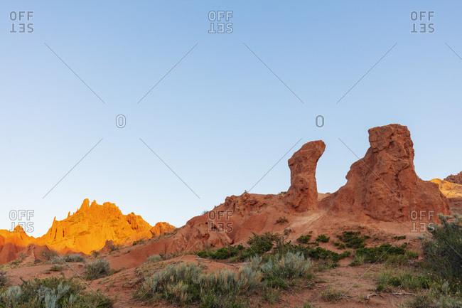 Fairy Tale canyon, Skazka Valley, Tosor, Kyrgyzstan, Central Asia, Asia