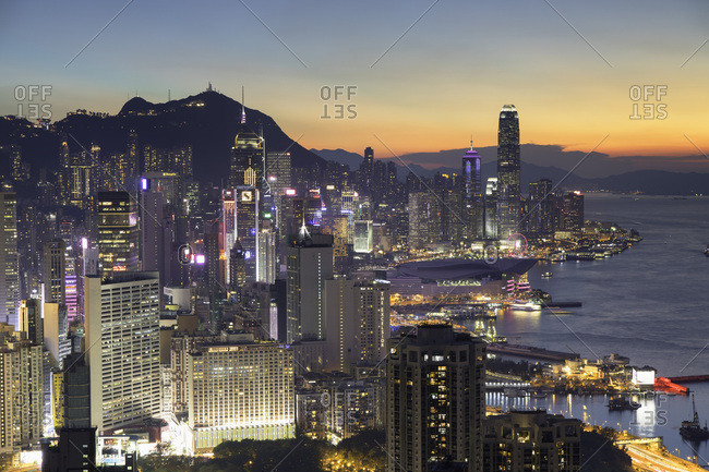 May 21, 2018: Skyline of Hong Kong Island at sunset, Hong Kong, China, Asia