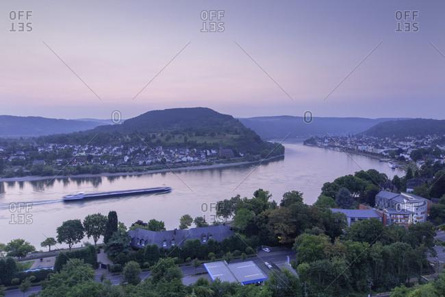 River Rhine at dawn, Boppard, Rhineland-Palatinate, Germany, Europe