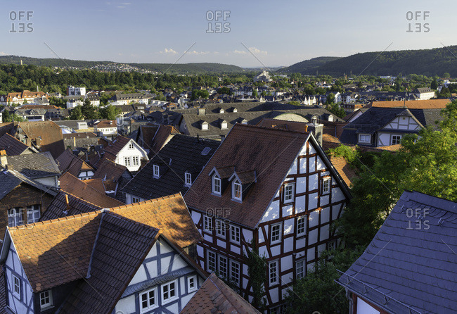 Half-timbered buildings and view of town, Marburg, Hesse, Germany, Europe