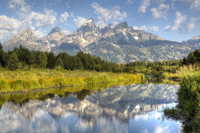 Teton Range from Schwabache Landing, Grand Teton National Park, Wyoming, United States of America, North America