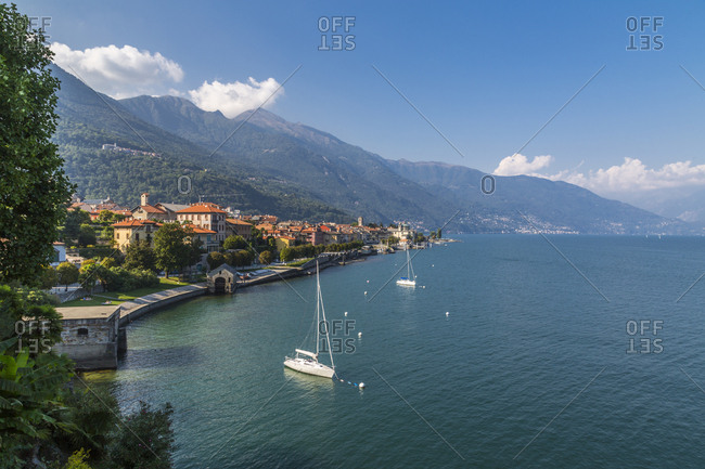 Elevated view of Cannobio and Lake Maggiore, Lake Maggiore, Piedmont, Italian Lakes, Italy, Europe