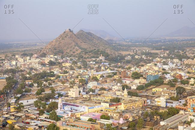 November 22, 2012: Aerial view of Pushkar Camel Fair, Pushkar, Rajasthan, India, Asia