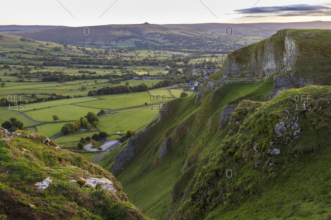 Dawn at Winnats Pass, early autumn, Castleton, Peak District National Park, Hope Valley, Derbyshire, England, United Kingdom, Europe