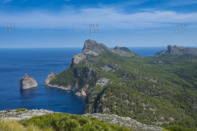 View over Cala Formentor beach, Cap Formentor, Mallorca, Balearic Islands, Spain, Mediterranean, Europe