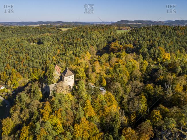 Rabenstein Castle in the Ahorn valley in autumn, Franconian Switzerland, Bavaria, Germany, Europe