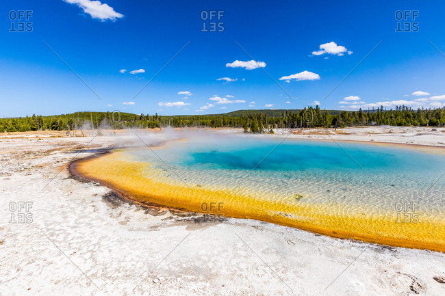 Rainbow Geyser and surreal the colors that the different bacteria create in these geysers, Yellowstone National Park, UNESCO World Heritage Site, Wyoming, United States of America, North America