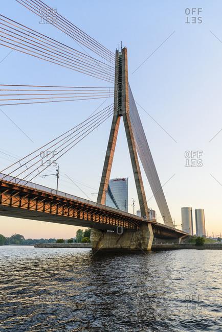 August 1, 2018: Vansu Bridge over the Daugava River , Riga, Latvia, Europe