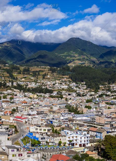 July 8, 2018: City Center, elevated view, Otavalo, Imbabura Province, Ecuador, South America