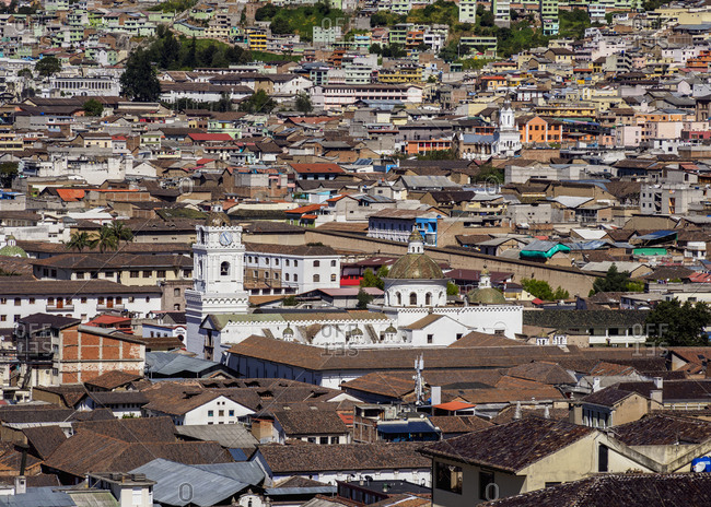 Old Town, elevated view, Quito, Pichincha Province, Ecuador, South America