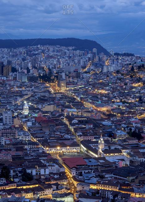 Old Town elevated view from El Panecillo, twilight, Quito, Pichincha Province, Ecuador, South America