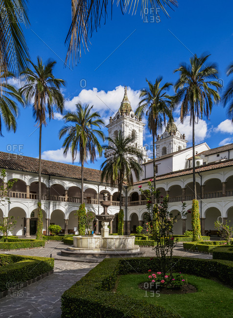 July 9, 2018: Cloister of Saint Francis Monastery, UNESCO World Heritage Site, Quito, Pichincha Province, Ecuador, South America