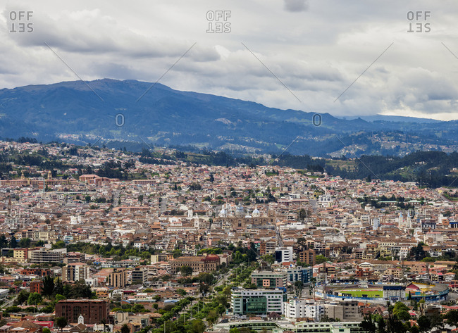 July 29, 2018: Cuenca Cityscape from Turi View Point, Azuay Province, Ecuador, South America