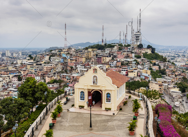Santa Ana Hill, elevated view, Las Penas Neighbourhood, Guayaquil, Guayas Province, Ecuador, South America