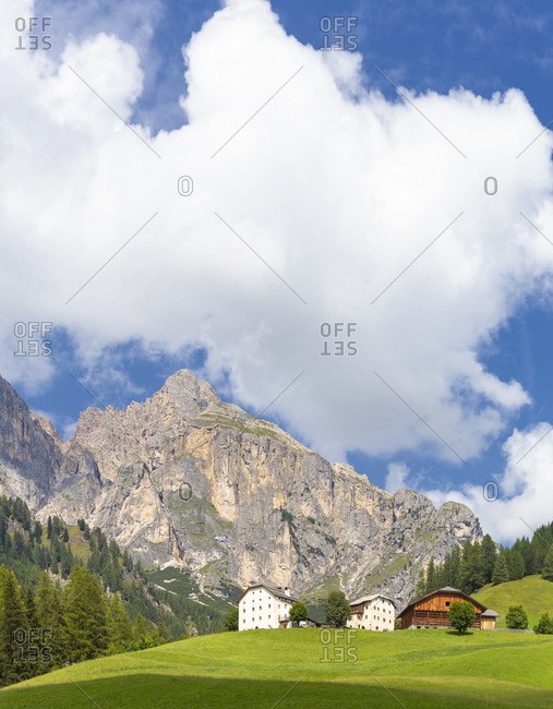Traditional houses of Dolomites, Colfosco, Badia Valley, South Tyrol, Dolomites, Italy, Europe