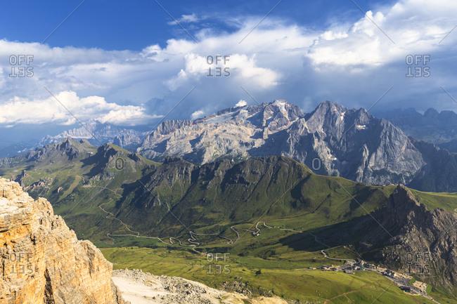 Marmolada and Pordoi Pass, Trentino, Dolomites, Italy, Europe