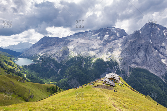 Viel del Pan Refuge with Marmolada in the background, Pordoi Pass, Fassa Valley, Trentino, Dolomites, Italy, Europe