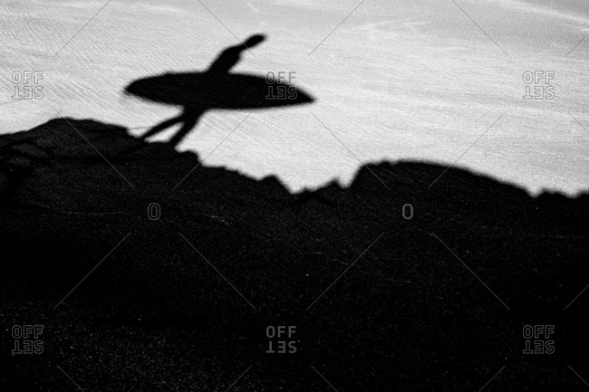 Shadow of surfer