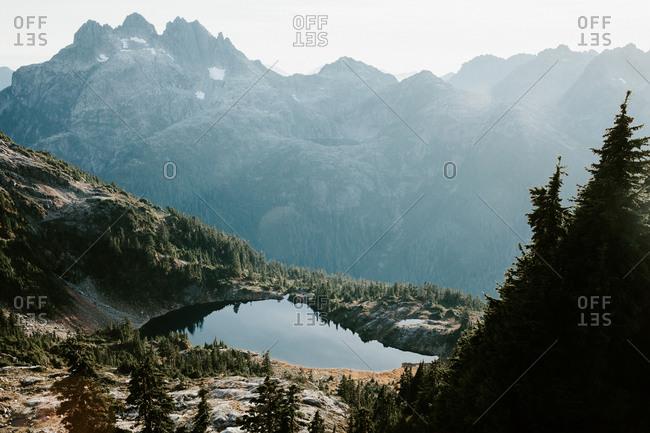 Haze over mountain and lake