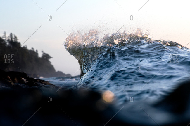 Crashing waves in the ocean