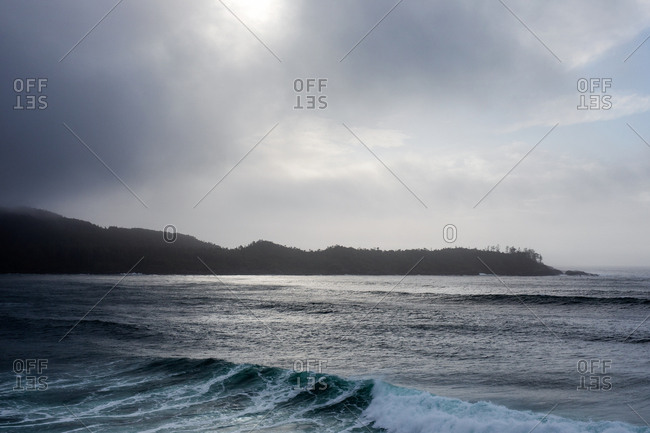 View of the ocean under cloudy yet sunny sky