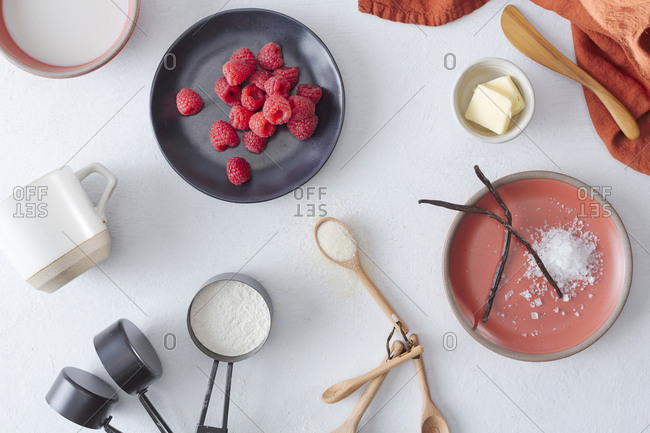 Baking ingredients spread out on counter