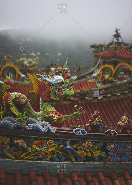Rooftop of the Chuen ji Hall temple in Jioufen, Taipei, Taiwan