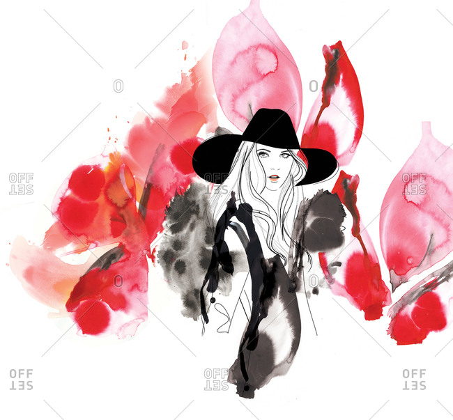 Illustration of beautiful woman in a large black hat