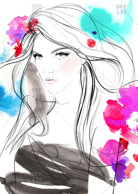 Illustration of beautiful model