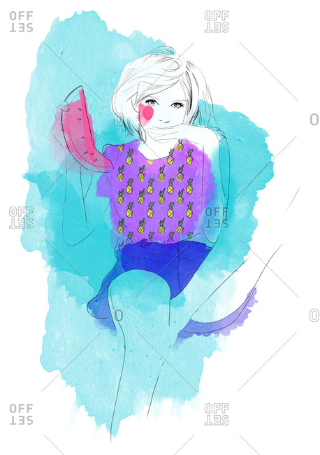 Illustration of girl eating watermelon