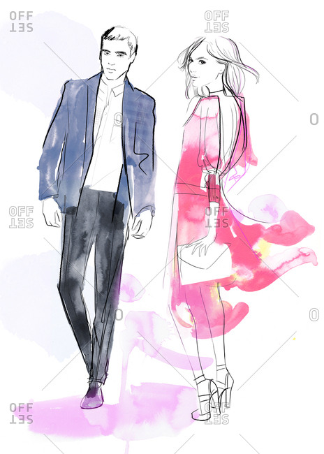 Illustration of young couple in semi-formal stylish clothing