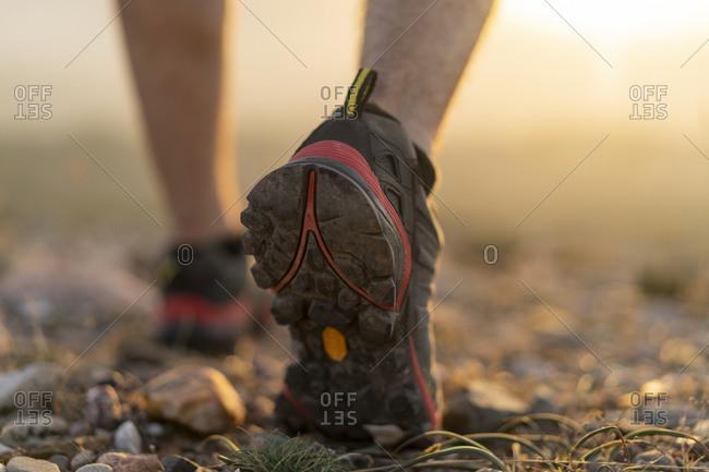 Close-up of feet of a hiker