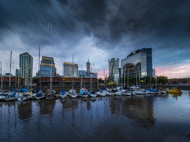 October 11, 2017: Argentina- Buenos Aires- Puerto Madero- Dock Sud with Catalinas Towers- financial district- Retiro at night