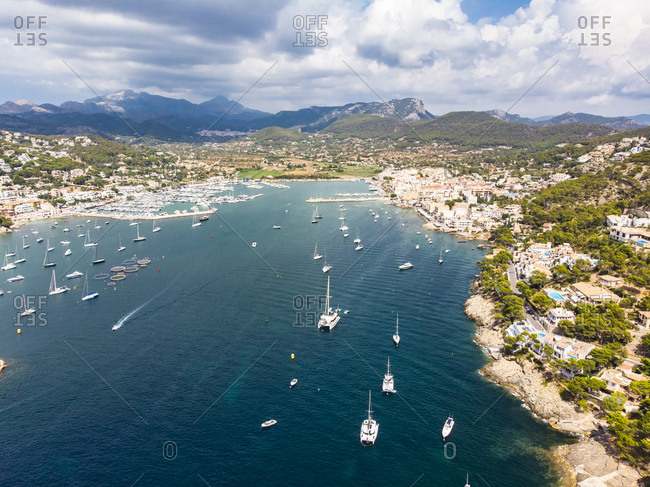 Spain- Balearic Islands- Mallorca- Andratx Region- Aerial view of Port d'Andratx- coast and natural harbour