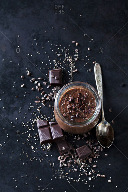 Dessert of chia seeds- chocolate and cacao nibs