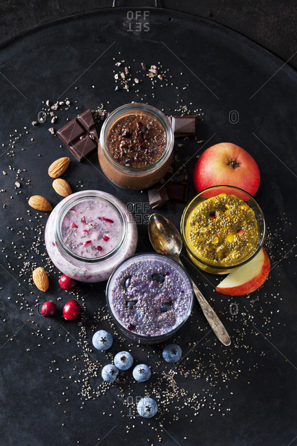 Various desserts of chia seeds