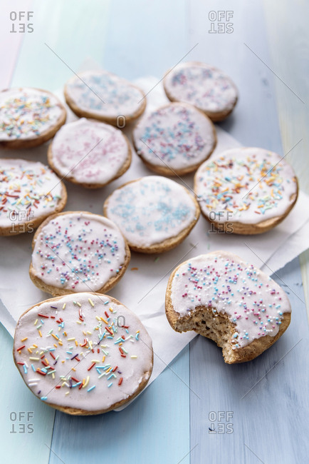 Vegan sweet pastry with sugar icing and coloured sugar beads and granules