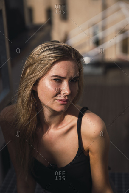 Portrait of blond young woman in summer