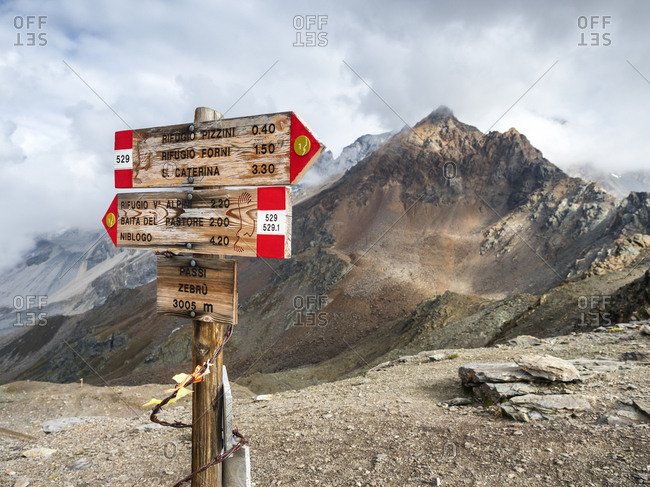 Italy- Ortler Alps- sign post- Gran Zebru in the background