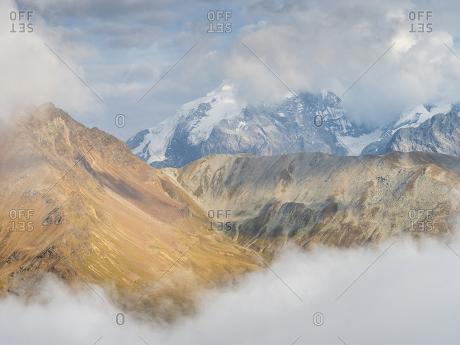 Border region Italy Switzerland- mountain landscape with snowcapped Ortler